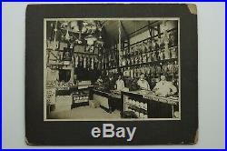 1900s BUTCHER MEAT SHOP INTERIOR LG 9x11 VTG OCCUPATIONAL CABINET CARD PHOTO