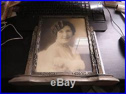 1920s Vintage 13 x 12 Wooden Framed Black and White Photo of Lady