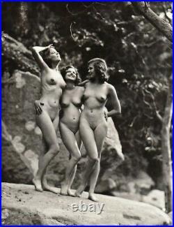 1926 Original EDWIN BOWER HESSER Female Nude TRIO Art Deco Silver Gelatin Photo
