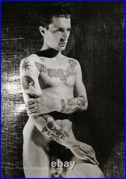 1930 GEORGE PLATT LYNES Male Nude Tattoo Charles Levinson Photo Engraving 16x20