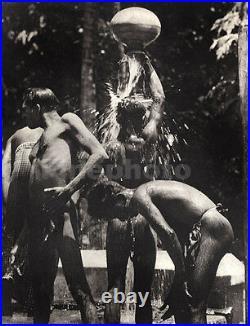 1930's Vintage CEYLON Sri Lanka 3 SEMI NUDE MALES Bathing Photo Art LIONEL WENDT