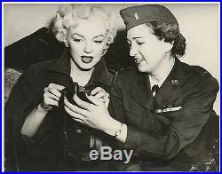 1950's Vintage Photograph MARILYN MONROE Korea War Gas Mask