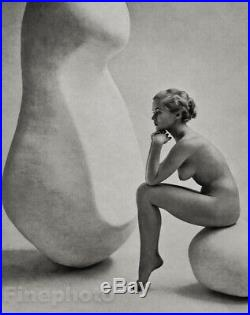 1950s Vintage Female Nude Woman & Sculpture by ZOLTAN GLASS Fine Art Photo Litho