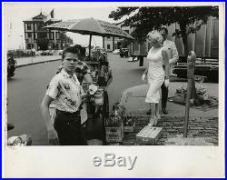 1957 Vintage Marilyn Monroe Arthur Miller Hot Dog Stand Photograph Large Candid