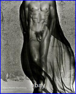 1985 Vintage HERB RITTS Male Nude Body w Black Veil Duotone Photo Engraving Art