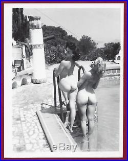 50s Vintage Orig Nude PhotoBig Breasts Pinup Donna Brown & Bobbie @ Spider Pool