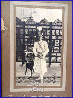 Antique Black And White Vintage Photograph Image Of Indian King With Rare Frame