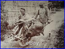 ANTIQUE VINTAGE CHINA CHINESE TURN 19th CENTURY PIPE PEASANT DEAD PIG RARE PHOTO
