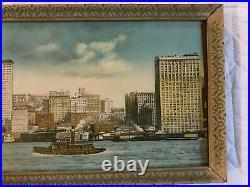 ANTIQUE original yard long photo photograph cityscape New York Boston vintage