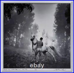 ARTHUR TRESS ORIGINAL B&W PHOTOGRAPH, MALE NUDE With HORSE Groom & White Arabian