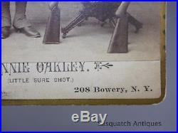 Annie Oakley Cabinet Card Photo With Stevens Pistol Rifle & Parker Shotgun