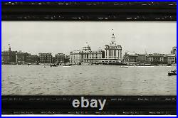 Antique Panorama Silver Photo Chinese China Bund Shanghai Ah Fong Building 1928