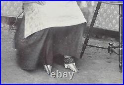 Antique Photo Chinese China Woman Traditional Dress Lotus Shoes Yantai 1890 #6