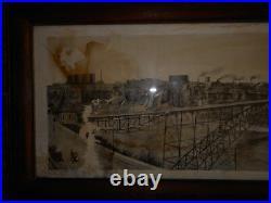 Antique Photo Panoramic Niagara Falls Canada 1908 Framed Horse Buggy Vintage
