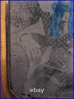 Antique Reconstruction Era African American Girl White Blue Sc Ga Tintype Photo