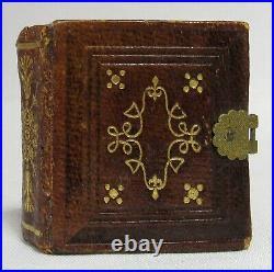 Antique TINY GEM TINTYPE PHOTO ALBUM Miniature Leather Photography Book FULL