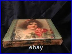 Antique Victorian Edwardian Celluloid Photo Album w Brass Frame Stand & 36Photos