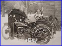 Antique Vintage 1929 Harley Davidson Jd Model Motorcycle Sidecar Winter Photo