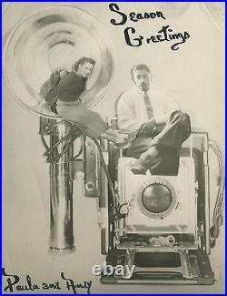 Antique Vintage Holiday Couple African American Interracial Graphex Camera Photo
