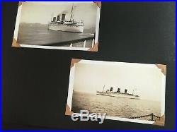 Antique Vintage Photo Album 190 B&W 1930s California Ships Cars Farm Animal Town
