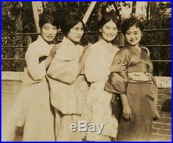 Antique Vintage Shanghai China 4 Chinese Girls Traditional Dress Rehill Photo