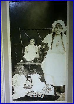 Antique Vintage Toy Girl Doll Collection Lot Black Pocket Dog Georgetown Photo