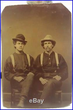 Antique Vintage Victorian Fashion Men Matching Pants Tough Guys Tintype Photo