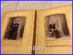 Antique Vintage Victorian Photo Album with 37 Family Photos Mid 1800s-1910s