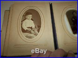 Antique Vtg Leather Photo Album with 41 CDV & Tintype Photographs
