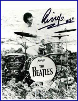 Beatles Ringo Starr Drumming Signed 8 x 10 b/w 2005 Photo