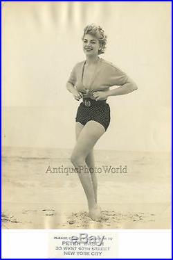 Beautiful Barbara Nichols actress on beach vintage art photo by Peter Basch