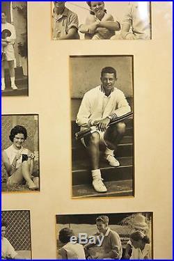 C. 1960's framed vintage tennis club photo montage tennis players