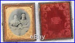 Daguerrotype Photograph Vintage Antique Civil War Era Couple Copper Wood Framed