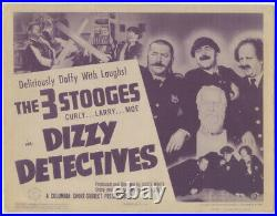 Dizzy Detectives 3 Three Stooges Vintage Title Lobby Card 1943