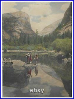 Early California Hand-Colored Photograph of Yosemite'Indians' -1910 Arts&Crafts