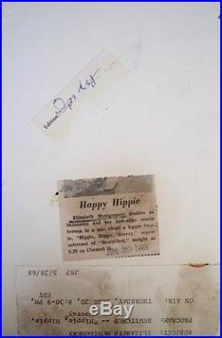 Elizabeth Montgomery Press Photo 1968 Bewitched Stamp Date Snipe VTG Halloween