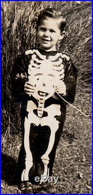 Freak Transformation Skeleton Mask Halloween Costume Boy 1948 Vintage Photo Lot