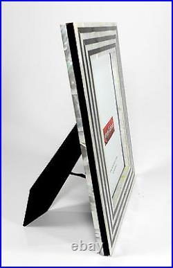 Genuine Mother of Pearl Black & White Art Deco Picture Frame 8X10 Photo NEW