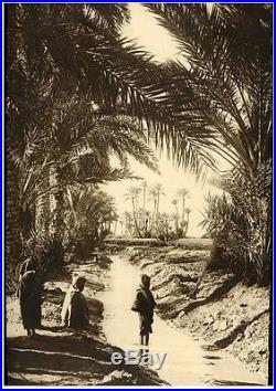 Giant vintage photo Sahara desert oasis Africa ethnic foto Prouho Algerie 1920