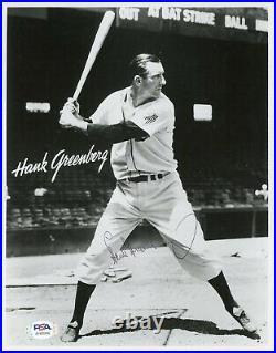 HANK GREENBERG SIGNED VINTAGE B&W 8X10 PHOTO PSA/DNA COA Detroit Tigers HOF Nice