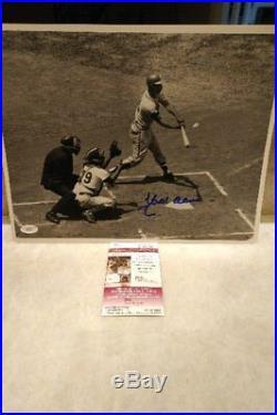 Hank Aaron Vintage Original B&w 11x14 Signed Homerun Swing Rare Auto Jsa Mint