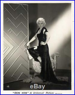 JEAN HARLOW / IRON MAN (1931) Vntg orig 8x10 sepia print Art Deco set satin gown