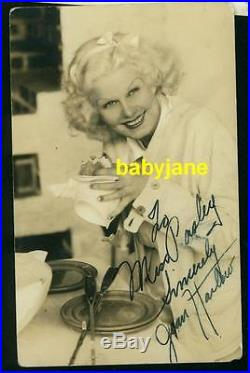 JEAN HARLOW VINTAGE 3x5 CANDID PHOTO POSTCARD SIGNED BY HER MOTHER MAMA JEAN