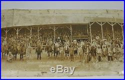 J Vtg Yard Long Photograph 1927 NEBRASKA BIG RODEO BURWELL Cowboys Indians Band