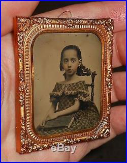 OLD VINTAGE ANTIQUE AMBROTYPE PHOTO of BEAUTIFUL PRETTY YOUNG CUTE GIRL