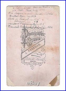 OLD VINTAGE ANTIQUE CDV PHOTO ADMIRAL SIR ISAAC COFFIN by FREEMAN NANTUCKET MASS