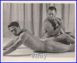 ORIGINAL VINTAGE 1960s GAY BEEFCAKE MUSCLE 4x5 posing strap photograph BOB MIZER