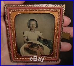 Old Vintage Antique Ambrotype Photo Beautiful Young Southern Belle Teen Girl
