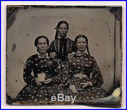 Old Vintage Antique Ambrotype Photo Lovely Young Ladies In Pretty Print Dresses