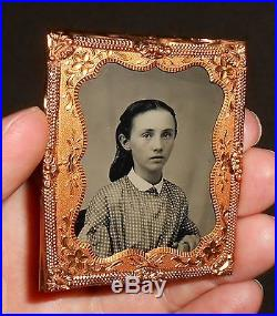 Old Vintage Antique Glass Encased Tintype Photo Beautiful Pretty Young Teen Girl